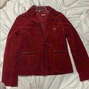 Red denim jacket!